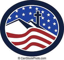 Cross on Hill American Flag Circle
