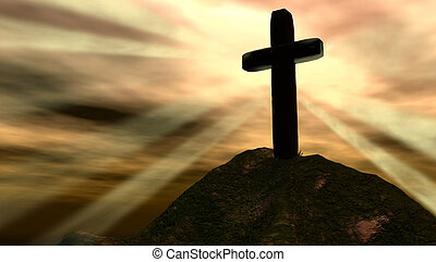 Cross with glorious background atop a mountain offering solace to seekers.
