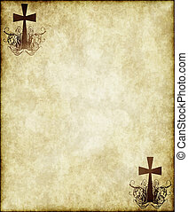 cross on old parchment - cross on old worn and grungy ...