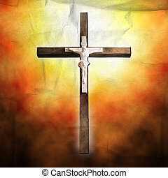 Cross on paper background