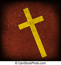 cross on red grunge background