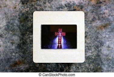 Cross on slide film