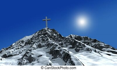 Cross on Snow Covered Mountain