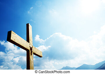 Cross on the blue sky. Religion, christian concepts