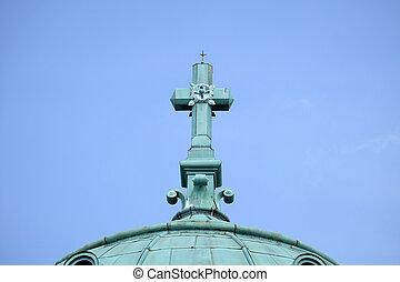 Cross on the Church of Christ the King, Mirogoj cemetery in Zagreb, Croatia