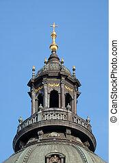 Cross on the Saint Stephen`s Basilica in Budapest, Hungary