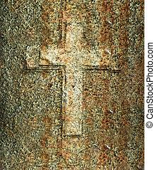 Cross on the strange wall