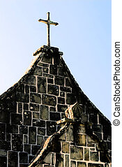 Cross on the top of old church