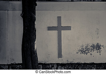 cross on the white wall