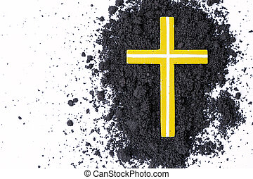 Cross or crucifix made of ash, dust or sand. Ash Wednesday....
