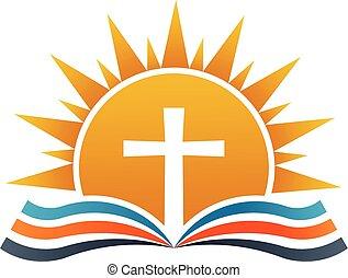 Cross over Bible. Religion Logo illustration