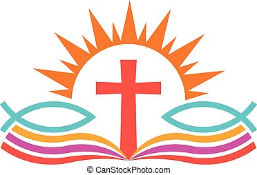 Cross over Bible with fishes. Religion Logo illustration