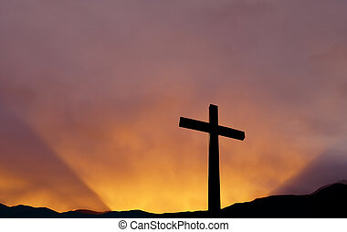 Cross over bright sky background