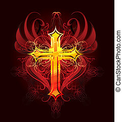 cross painted with paint
