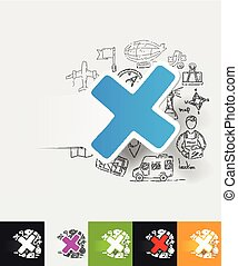 cross paper sticker with hand drawn elements - hand drawn...