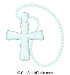 Cross pendant icon, cartoon style