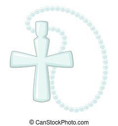 Cross pendant icon, cartoon style