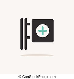 Cross pharmacy sign. Icon with shadow on a beige background. Pharmacy vector illustration