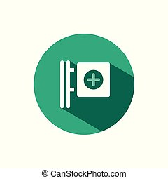 Cross pharmacy sign icon with shadow on a green circle. Vector pharmacy illustration