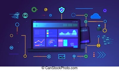 Cross platform site concept. Popup digital devices. Moving laptop, smartphone and tablet with adaptive interface. Web development. Cloud data storage. Graphic animated cartoon in high resolution