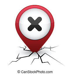 Cross red icon in crack. - Cross modern icon. Vector...