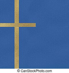 Cross religion card - Gold metal crucifix, religious symbol...