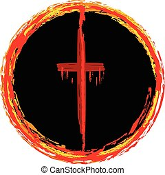Cross Ring of Fire - Cross in a circle of fire, symbolizing...
