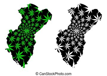Cross River State (Subdivisions of Nigeria, Federated state of Nigeria) map is designed cannabis leaf green and black, Cross River map made of marijuana (marihuana, THC) foliage