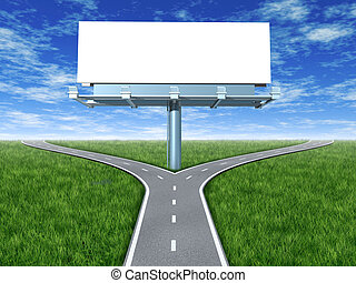 Cross roads with billboard in an outdoor display with grass...