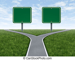 Cross roads with two blank road signs for copy space as a business concept and strategy symbol representing the difficult choices and challenges when selecting the right strategic path for financial planning.