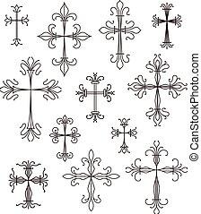 cross scroll symbols set