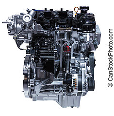 Cross section of a modern car engine