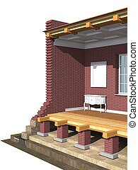Cross section of brick house. 3D architectural visualization...