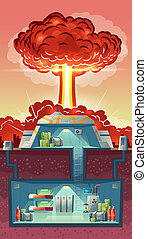 cross section of nuclear shelter, explosion