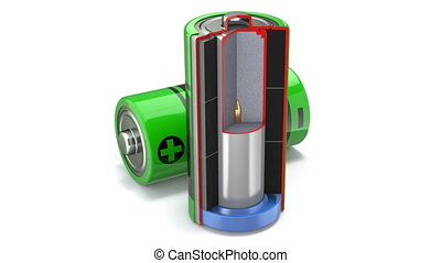 Cross section of of alkaline battery animation - 3D animation seamlessly loopable