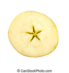 Cross section of red apple on white background