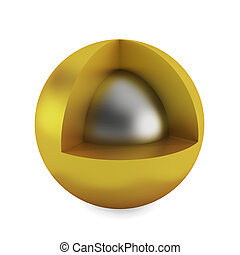 Cross section of sphere. 3d illustration on white background