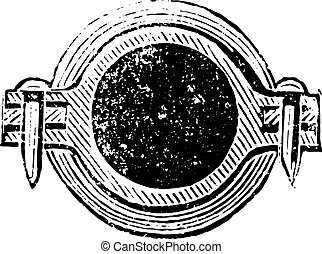 Cross section of the connection, vintage engraving.
