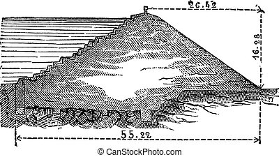 Cross section of the dam reservoir Montaubry, vintage engraving.