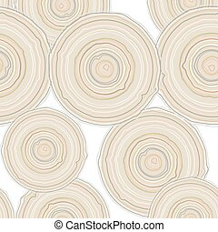 Cross section of tree trunk isolated on white background, seamless pattern.  Vector