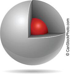Cross section of white sphere with red one inside isolated ...