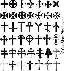 Cross set - Illustrations, historical, current, decorative...