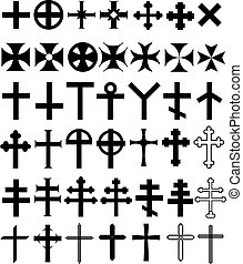 Vector illustrations historical current decorative and symbolic crosses