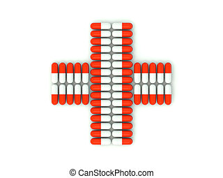 Cross shape from pills - Cross shape from pills isolated on...