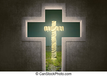 Cross shape with christ symbol with christmas lights...