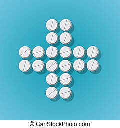 Cross shape with medical pills on blue background