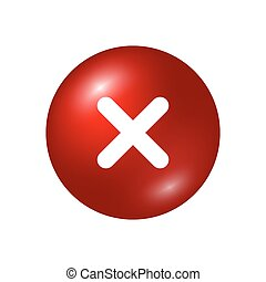 Cross sign element. Red X icon isolated on white background. Mark graphic design. Round volume button for vote, decision, web. Symbol error, check, wrong or stop, failed. Vector illustration