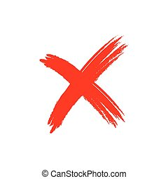 Cross sign grunge element - Cross sign element. Red grunge X...