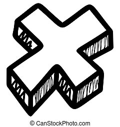 Cross sign hand drawn vector illustration