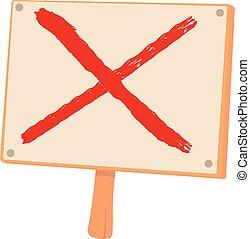 Cross sign icon, cartoon style